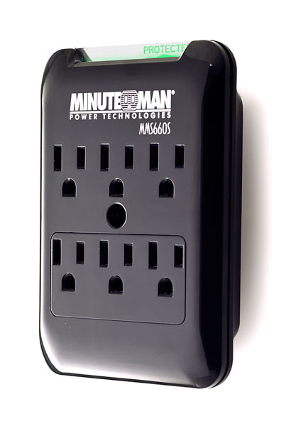 MMS660S MinuteMan Slim, 6-outlet wall tap, 540 Joules