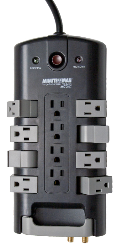 MMS7120RCT   MinuteMan 8-rotating outlets, coax/phone/LAN prot., 4320 Joules, 9-ft cord