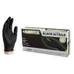 ABNPF4  AMMEX Black Nitrile PF Exam Gloves (Sold by Case of 10 Boxes = 1000 Gloves)