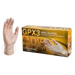 GPX34 AMMEX GPX3 Vinyl PF Ind Gloves (Sold by Case of 10 Boxes = 1000 Gloves)