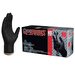 GWBN4 AMMEX Gloveworks Black Nitrile DT PF Ind Gloves (Sold by Case of 10 Boxes = 1000 Gloves)