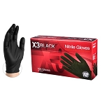 BX346100 LARGE AMMEX X3 Black Nitrile PF Ind Gloves (Sold by Case of 10 Boxes = 1000 LARGE Gloves)