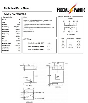 P20GF21-1 Federal Pacific 1 Phase 1 KVA Encapsulated Dry Type Transformer. 208V Primary X 240/120V Secondary